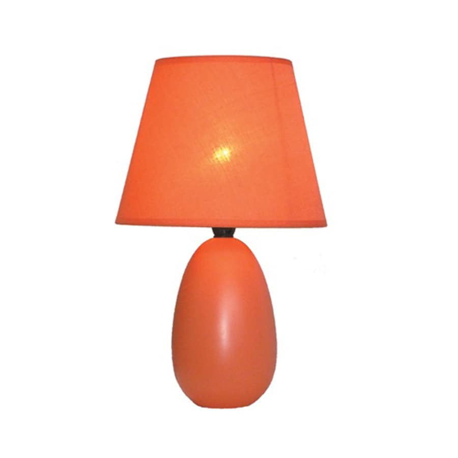 Simple Designs 9.45-in Orange Indoor Table Lamp with Fabric Shade