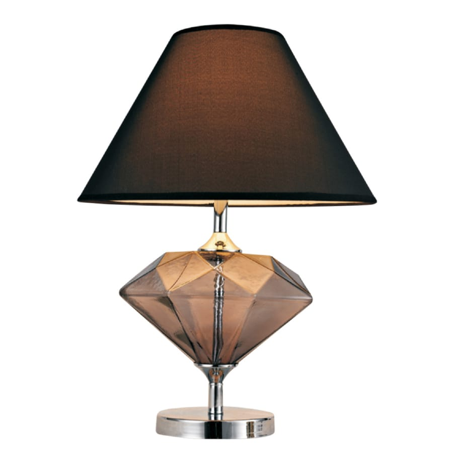 Elegant Designs 21.65-in Brown Indoor Table Lamp with Fabric Shade