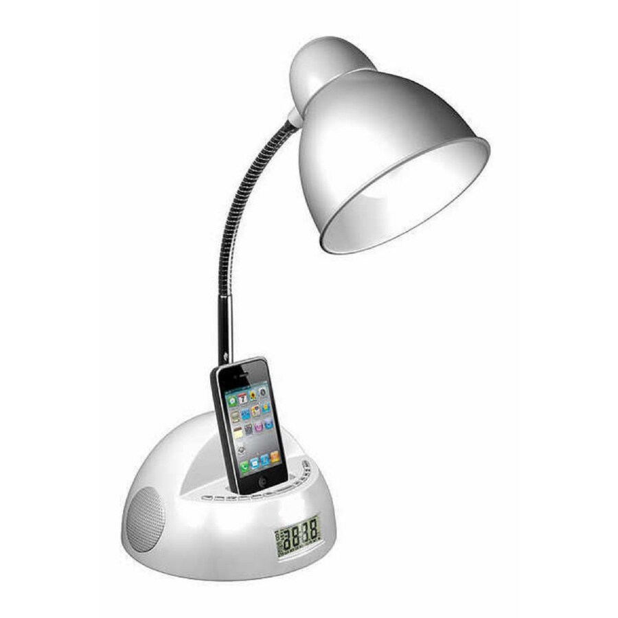 LighTunes 16.54-in Adjustable White Desk Lamp with Plastic Shade