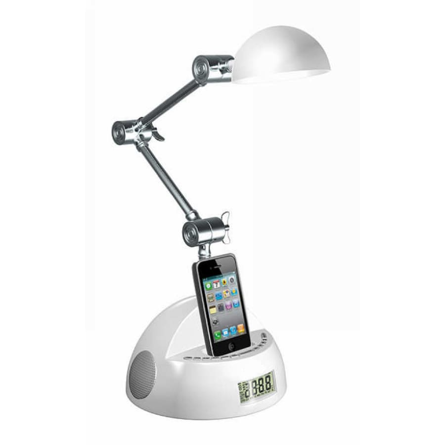 LighTunes 15.75-in Adjustable White Desk Lamp with Plastic Shade