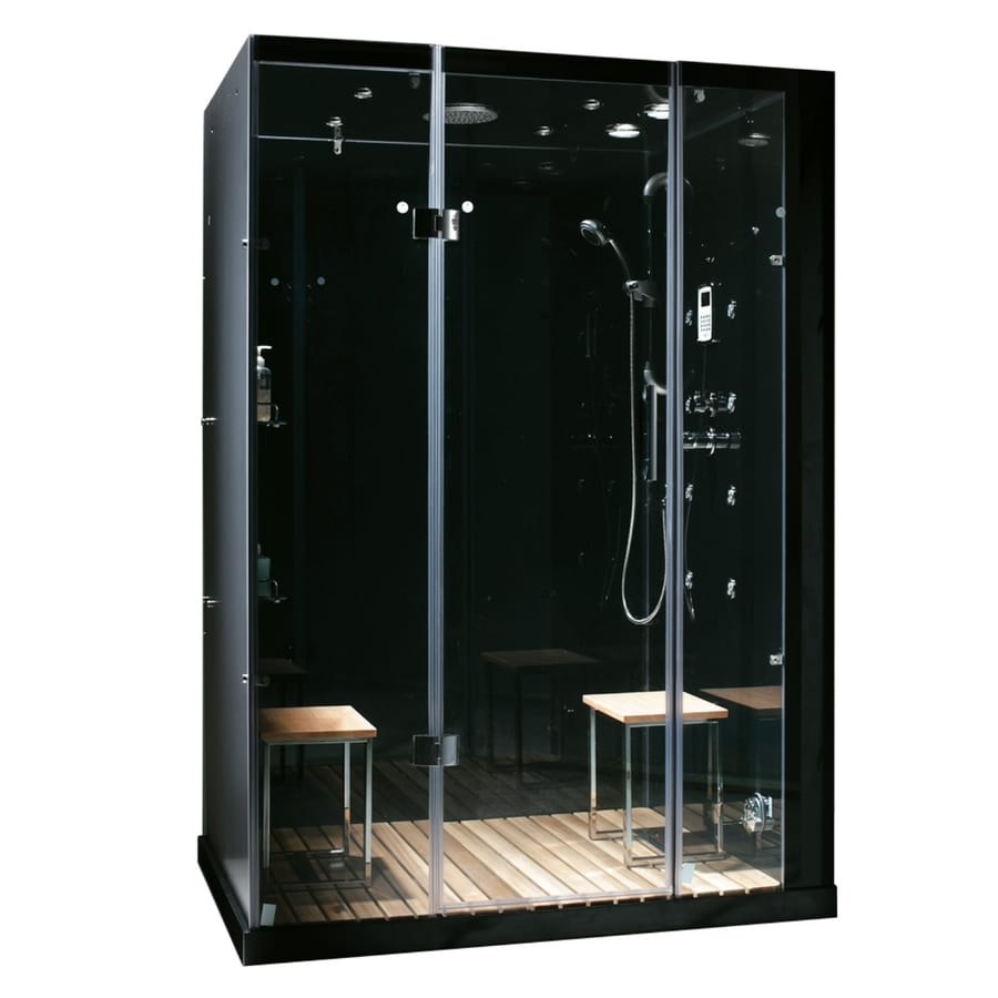 Orion Black Tempered Glass Wall Stone Composite Floor with Steam 11-Piece Alcove Shower Kit (Common: 60-in x 32-in; Actual: 84-in x 59-in x 32-in) Product Photo