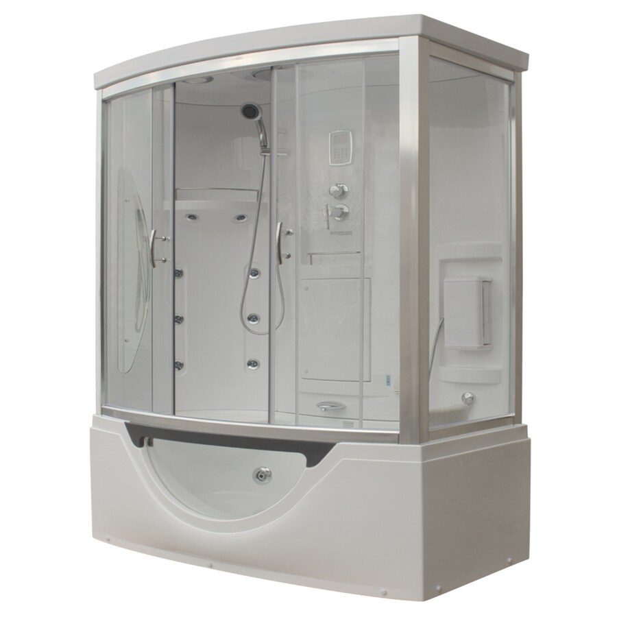 Northeastern Bath White Acrylic Wall Acrylic Floor Rectangle Steam 8-Piece Corner Shower Kit (Actual: 88-in x 39-in x 72-in)