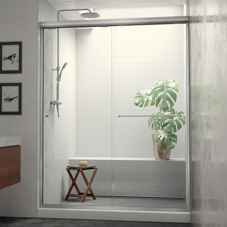 Arizona Shower Door Euro 44-in to 48-in W x 74.5-in H Brushed Nickel Sliding Shower Door