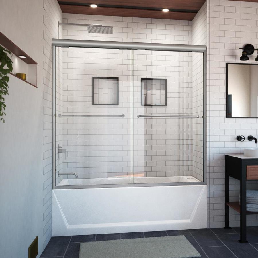 Arizona Shower Door Euro 56-in to 60-in W x 57.5-in H Brushed Nickel Sliding Shower Door