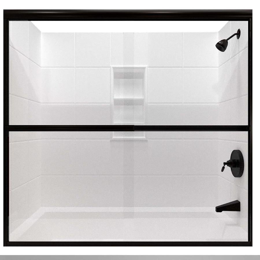 Arizona Shower Door Lite Euro 68-in to 72-in W x 57.375-in H Oil-Rubbed Bronze Sliding Shower Door