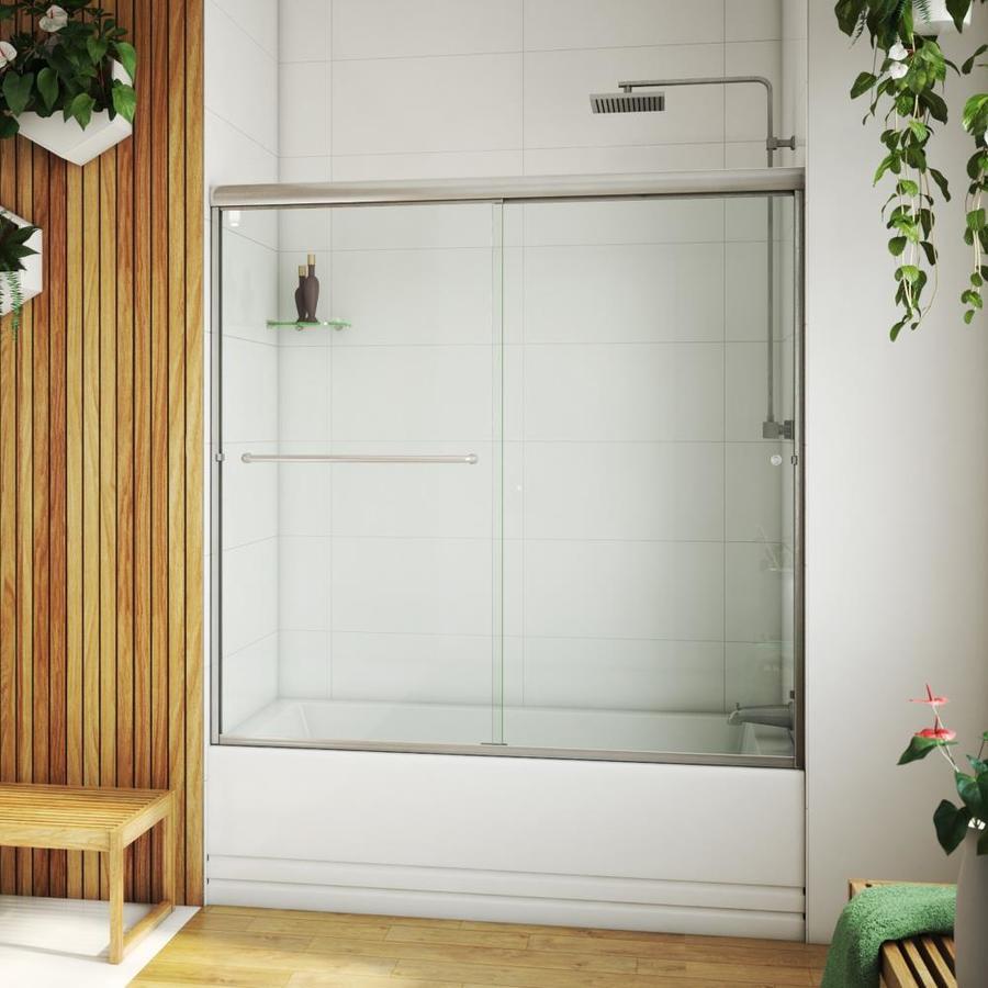 Arizona Shower Door Lite Euro 56-in to 60-in W x 55.375-in H Brushed Nickel Sliding Shower Door