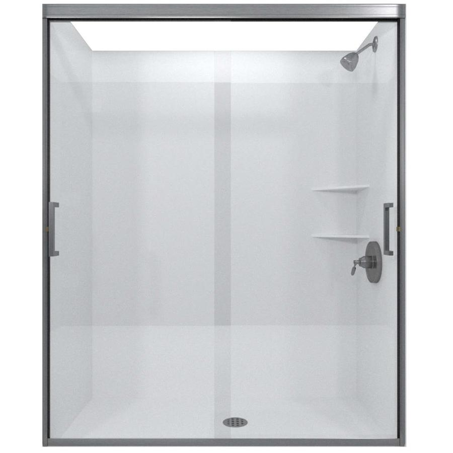 Arizona Shower Door Desert Tombstone 44-in to 48-in W x 70.375-in H Brushed Nickel Sliding Shower Door