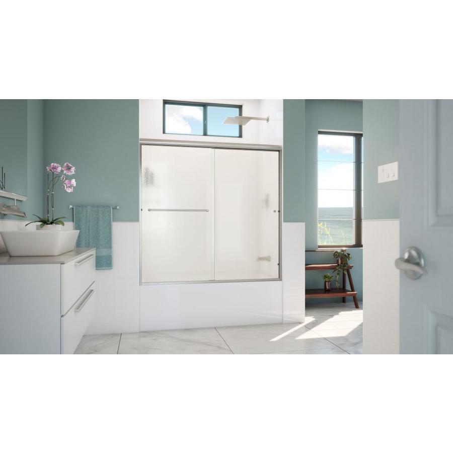 Arizona Shower Door Lite Euro 56-in to 60-in W x 57.375-in H Brushed Nickel Sliding Shower Door