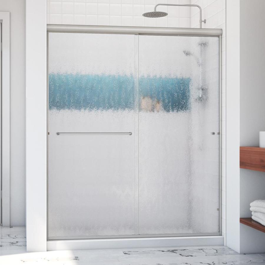 Arizona Shower Door Euro 56-in to 60-in W x 76.375-in H Brushed Nickel Sliding Shower Door