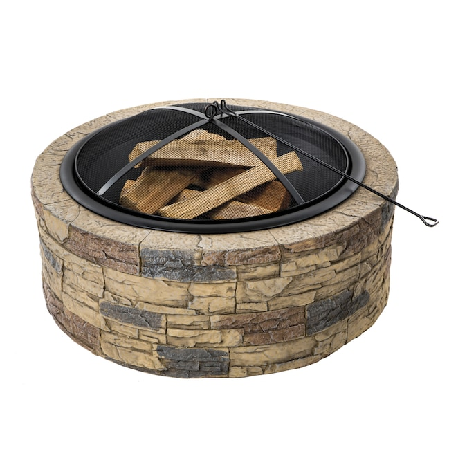 Sun Joe 35-in W Brown Stone Wood-Burning Fire Pit in the ...