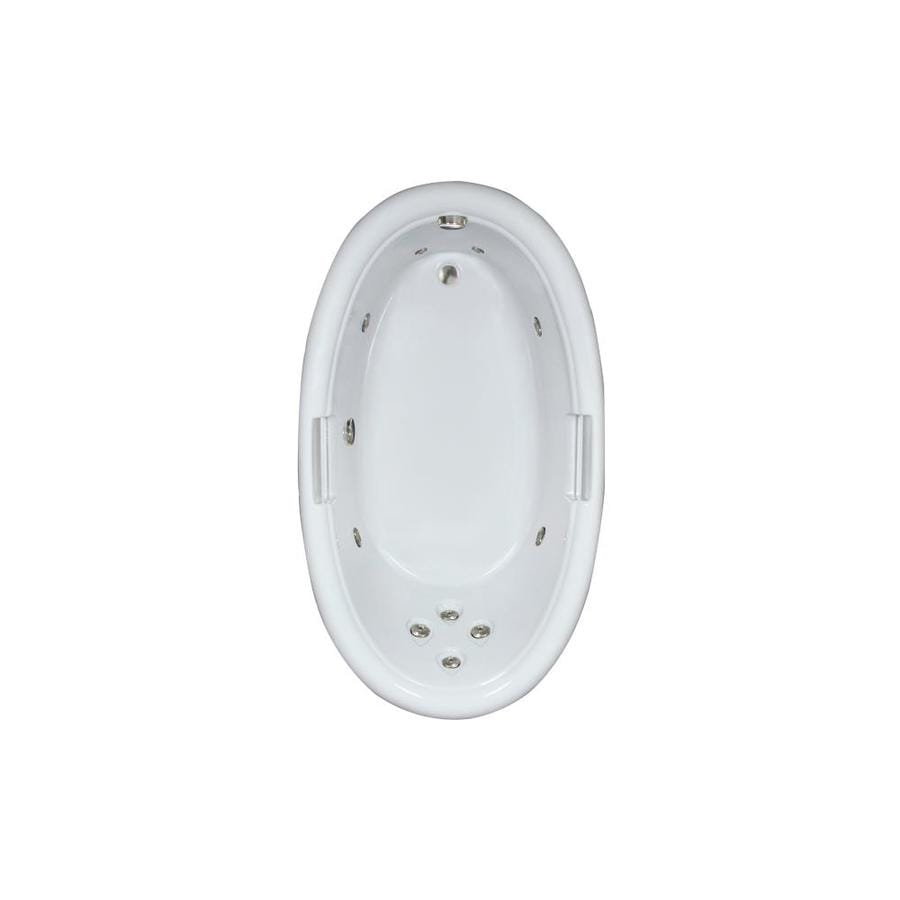 Watertech Whirlpool Baths Designer White Acrylic Oval Whirlpool Tub (Common: 42-in x 72-in; Actual: 21.25-in x 40.5-in x 71.25-in)
