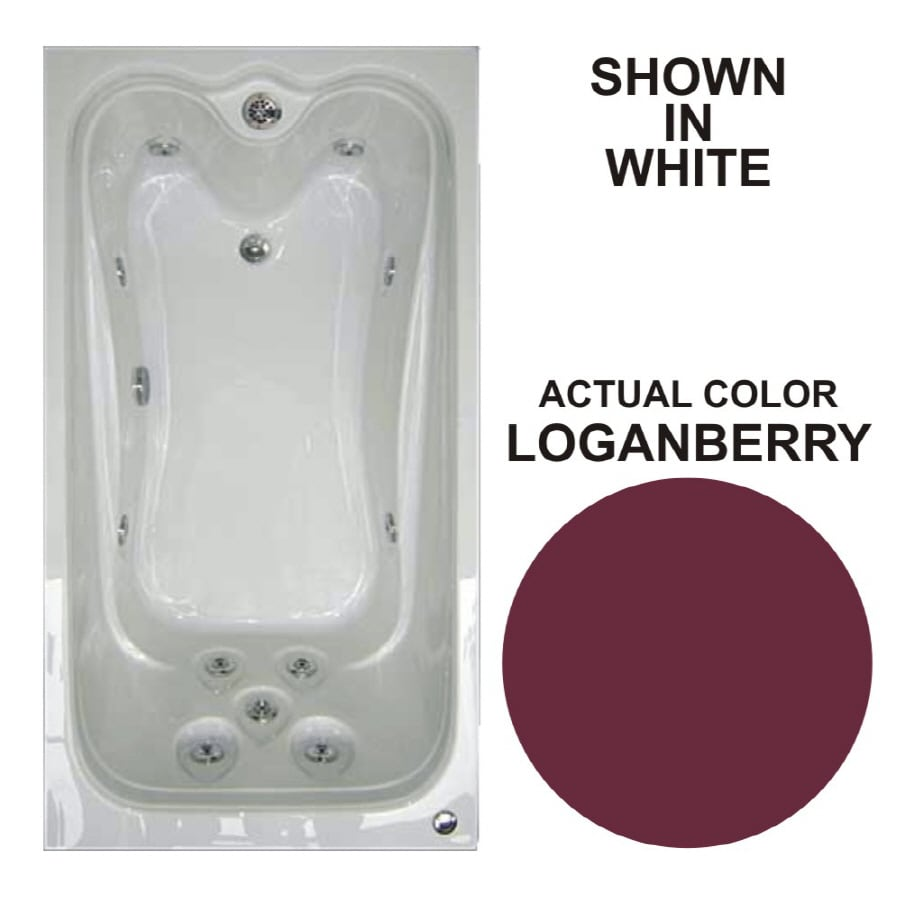 Watertech Whirlpool Baths Elite Loganberry Acrylic Rectangular Whirlpool Tub (Common: 32-in x 60-in; Actual: 22.75-in x 31.625-in x 59.625-in)