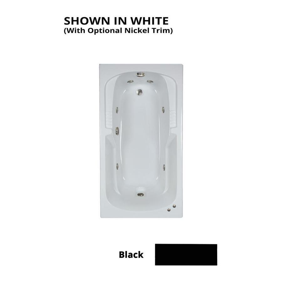 Watertech Whirlpool Baths Warertech Black Acrylic Rectangular Whirlpool Tub (Common: 32-in x 60-in; Actual: 20-in x 31.5-in x 59.375-in)