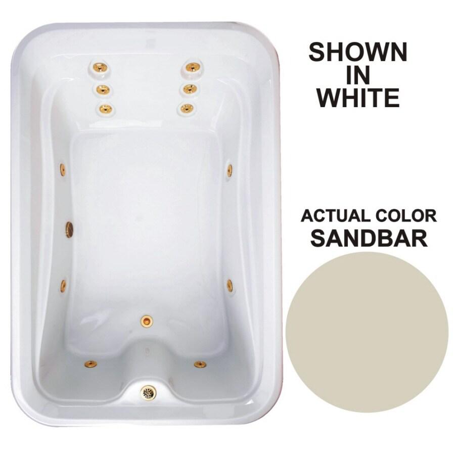 Watertech Whirlpool Baths Elite 2-Person Sandbar Acrylic Rectangular Whirlpool Tub (Common: 48-in x 72-in; Actual: 21.5-in x 48-in x 72-in)