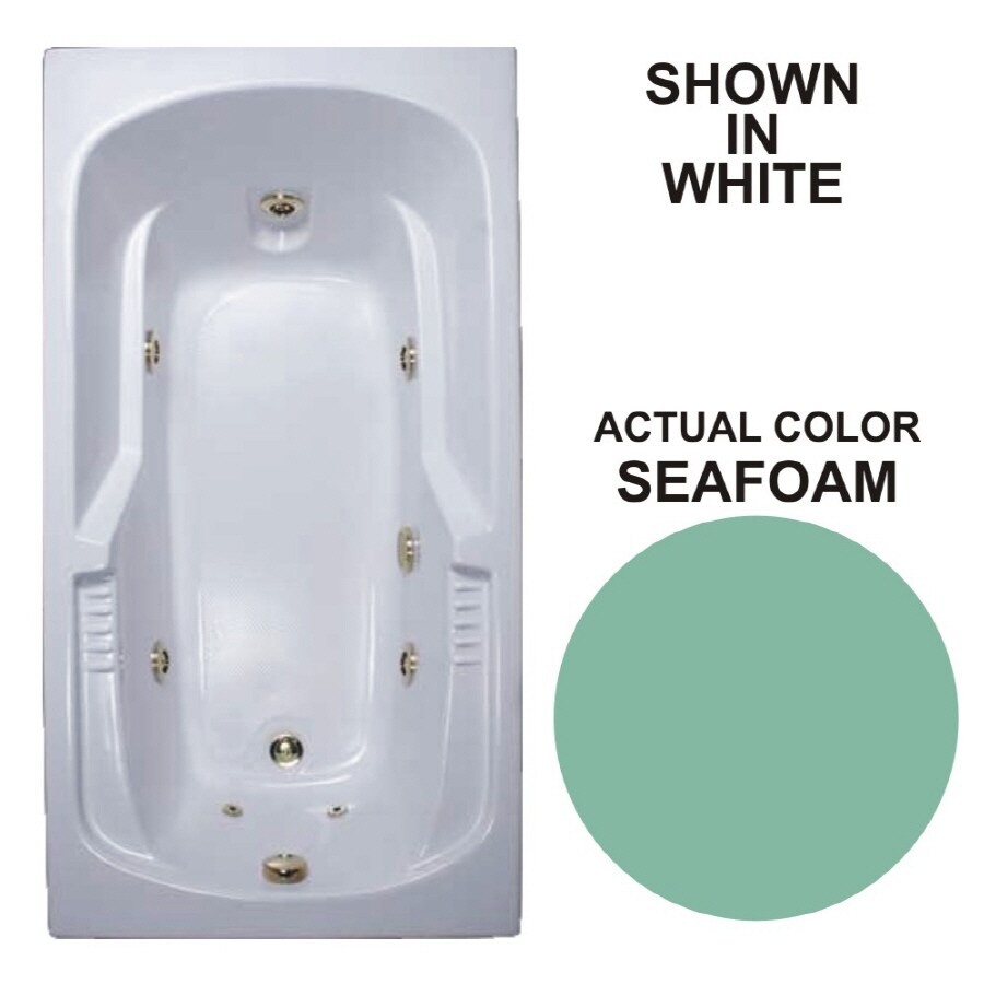 Watertech Whirlpool Baths Warertech Seafoam Acrylic Rectangular Whirlpool Tub (Common: 32-in x 60-in; Actual: 20-in x 31.5-in x 59.375-in)