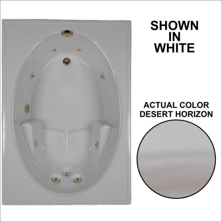 Watertech Whirlpool Baths Desert Horizon Acrylic Oval In Rectangle Whirlpool Tub (Common: 42-in x 60-in; Actual: 19-in x 41.5-in x 59.75-in)