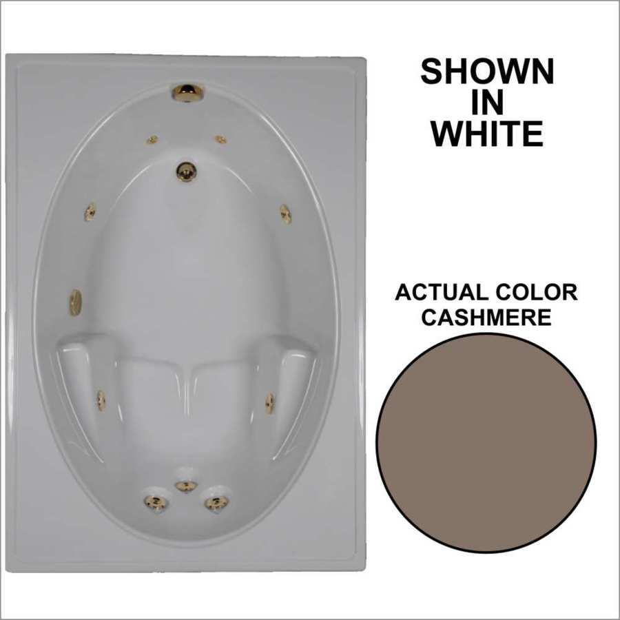 Watertech Whirlpool Baths Cashmere Acrylic Oval In Rectangle Whirlpool Tub (Common: 42-in x 60-in; Actual: 19-in x 41.5-in x 59.75-in)