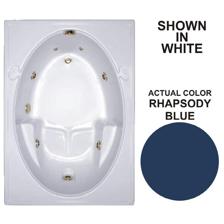 Watertech Whirlpool Baths Warertech Rhapsody Blue Acrylic Oval In Rectangle Whirlpool Tub (Common: 42-in x 60-in; Actual: 19-in x 41.5-in x 59.75-in)