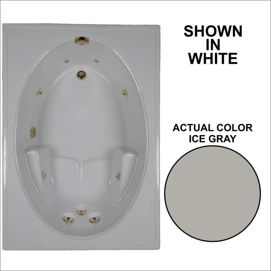 Watertech Whirlpool Baths Ice Gray Acrylic Oval In Rectangle Whirlpool Tub (Common: 42-in x 60-in; Actual: 19-in x 41.5-in x 59.75-in)