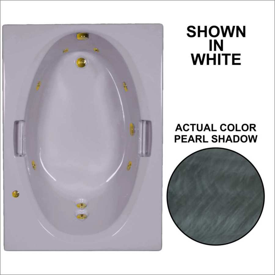 Watertech Whirlpool Baths Pearl Shadow Acrylic Oval In Rectangle Whirlpool Tub (Common: 42-in x 60-in; Actual: 21.5-in x 41.875-in x 59.75-in)