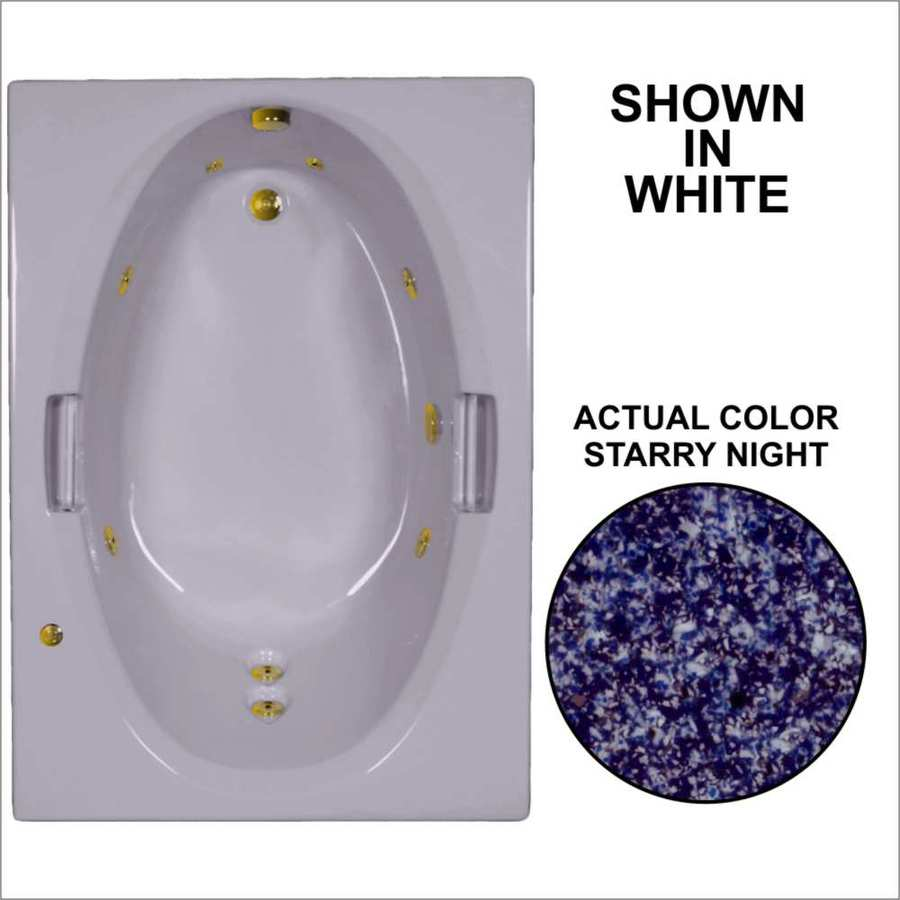 Watertech Whirlpool Baths Starry Night Acrylic Oval In Rectangle Whirlpool Tub (Common: 42-in x 60-in; Actual: 21.5-in x 41.875-in x 59.75-in)
