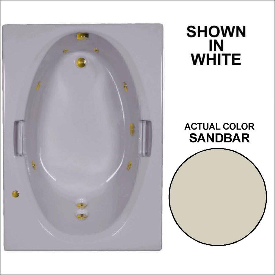 Watertech Whirlpool Baths Sandbar Acrylic Oval In Rectangle Whirlpool Tub (Common: 42-in x 60-in; Actual: 21.5-in x 41.875-in x 59.75-in)