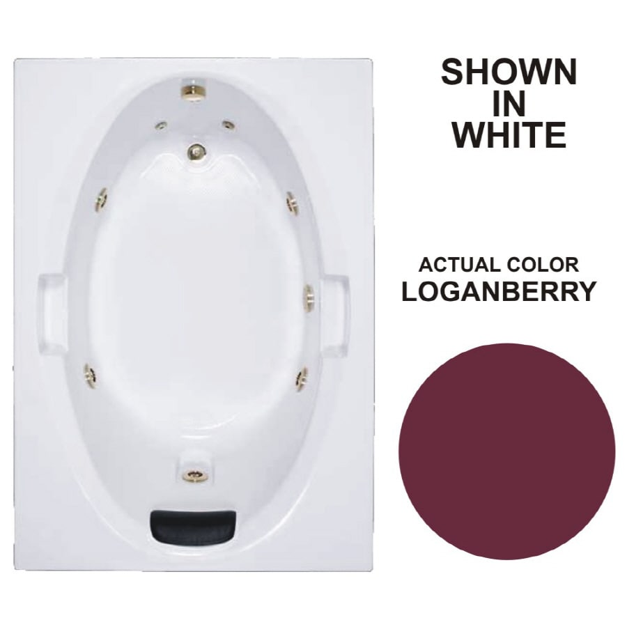 Watertech Whirlpool Baths Warertech Loganberry Acrylic Oval In Rectangle Whirlpool Tub (Common: 42-in x 60-in; Actual: 21.5-in x 41.875-in x 59.75-in)
