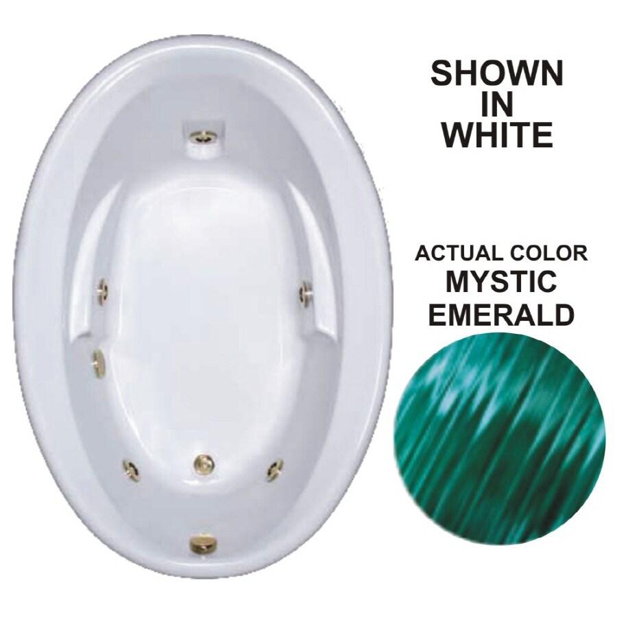 Watertech Whirlpool Baths Warertech Mystic Emerald Acrylic Oval Whirlpool Tub (Common: 42-in x 60-in; Actual: 19.5-in x 41.5-in x 59.625-in)