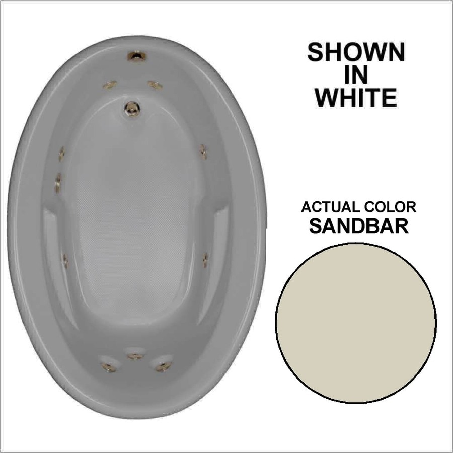 Watertech Whirlpool Baths Sandbar Acrylic Oval Whirlpool Tub (Common: 42-in x 60-in; Actual: 19.5-in x 41.5-in x 59.625-in)