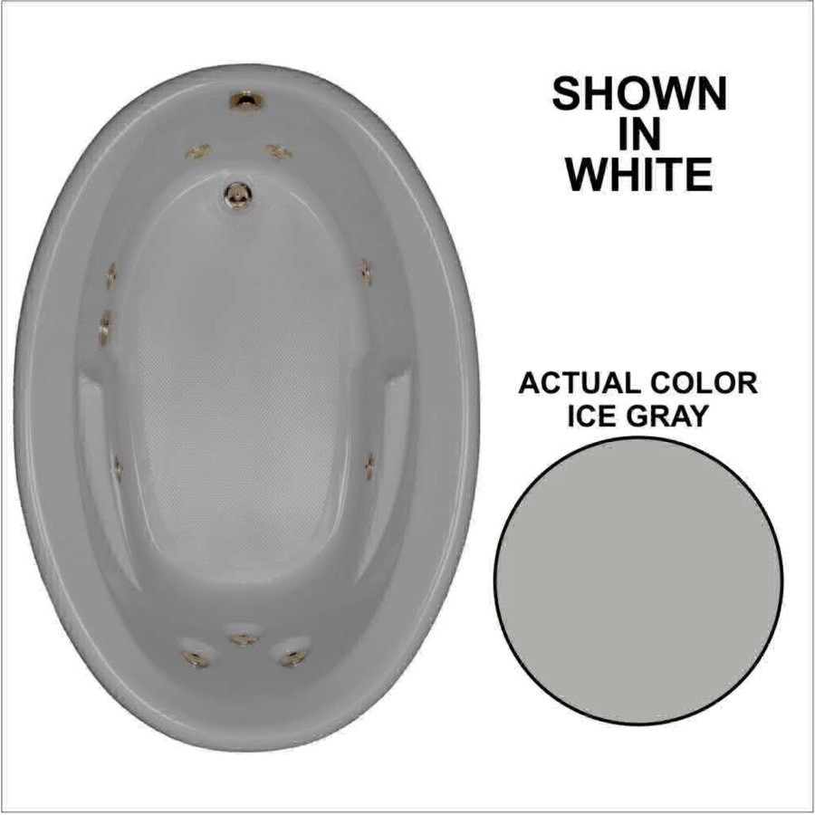 Watertech Whirlpool Baths Ice Gray Acrylic Oval Whirlpool Tub (Common: 42-in x 60-in; Actual: 19.5-in x 41.5-in x 59.625-in)