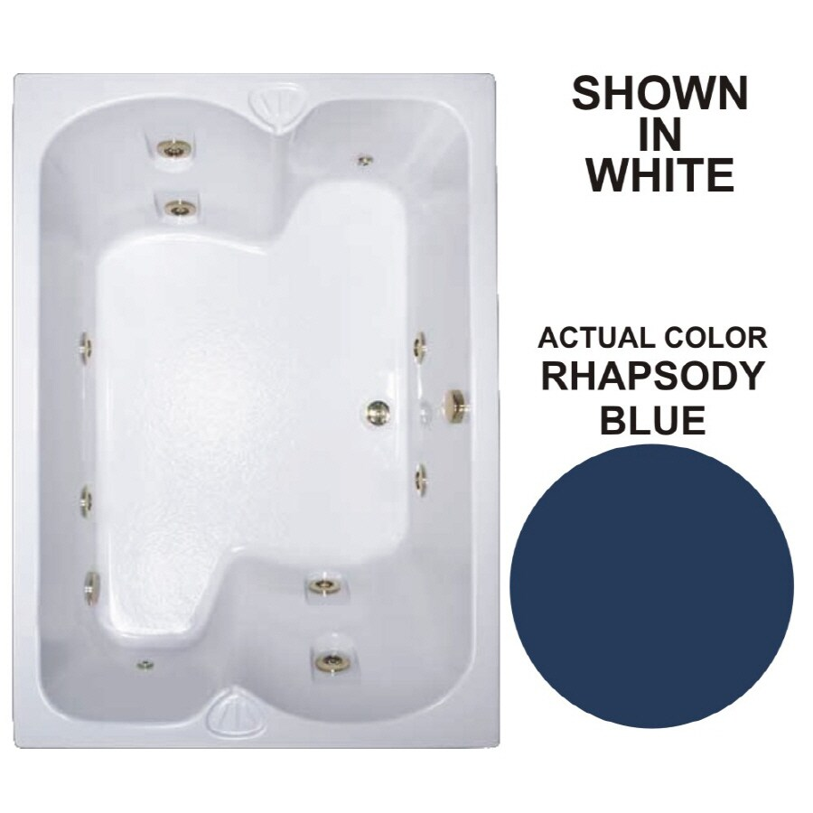 Watertech Whirlpool Baths Warertech 2-Person Rhapsody Blue Acrylic Rectangular Whirlpool Tub (Common: 43-in x 60-in; Actual: 23.25-in x 42.75-in x 59.75-in)