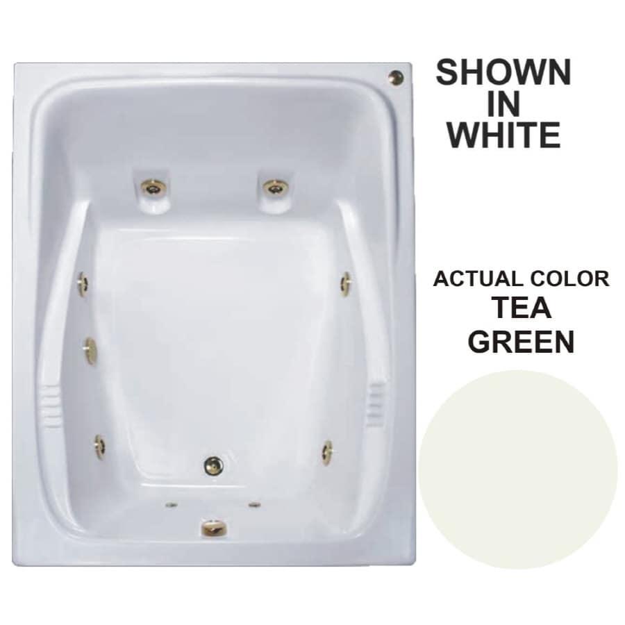 Watertech Whirlpool Baths Warertech 2-Person Tea Green Acrylic Rectangular Whirlpool Tub (Common: 48-in x 60-in; Actual: 23-in x 47.75-in x 59.75-in)