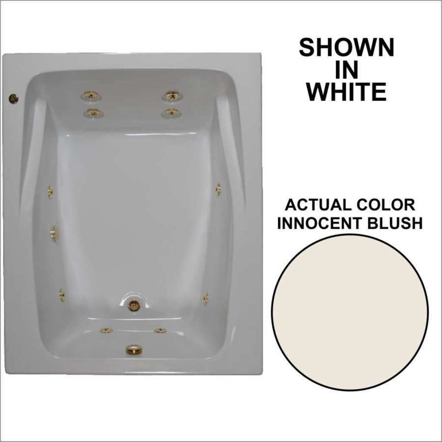 Watertech Whirlpool Baths 2-Person Innocent Blush Acrylic Rectangular Whirlpool Tub (Common: 48-in x 60-in; Actual: 23-in x 47.75-in x 59.75-in)