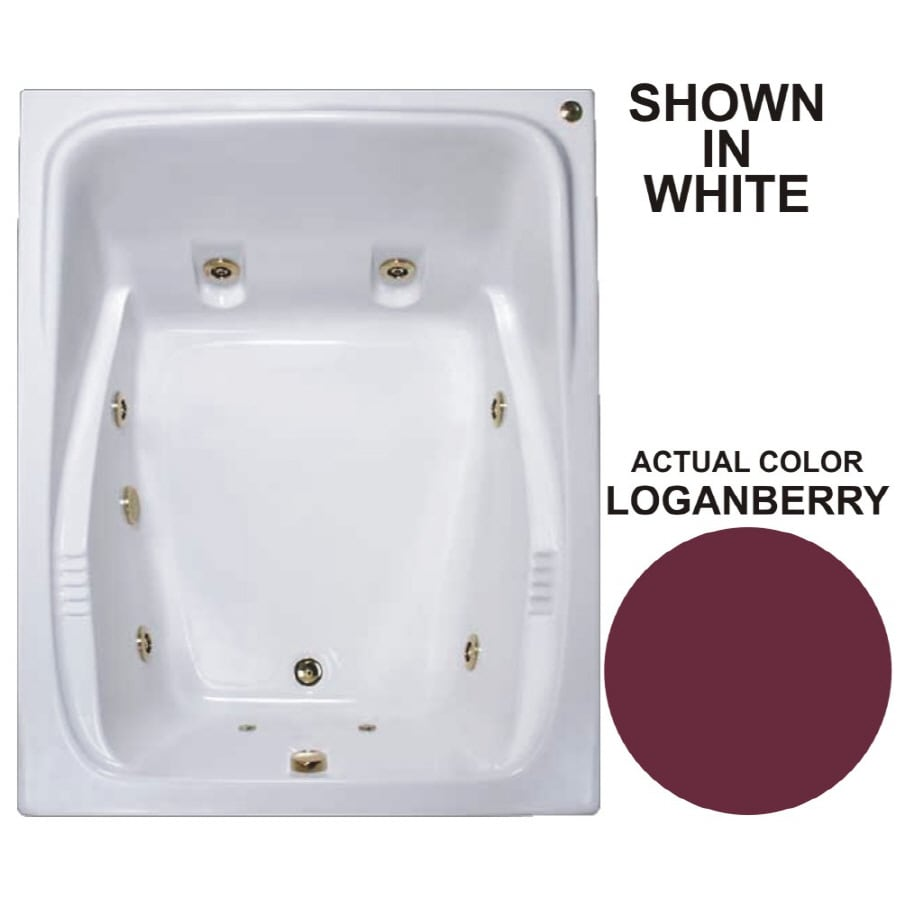 Watertech Whirlpool Baths Warertech 2-Person Loganberry Acrylic Rectangular Whirlpool Tub (Common: 48-in x 60-in; Actual: 23-in x 47.75-in x 59.75-in)