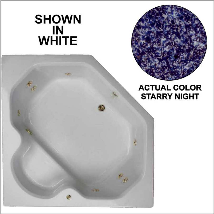 Watertech Whirlpool Baths 2-Person Starry Night Acrylic Corner Whirlpool Tub (Common: 60-in x 60-in; Actual: 20-in x 60-in x 60-in)