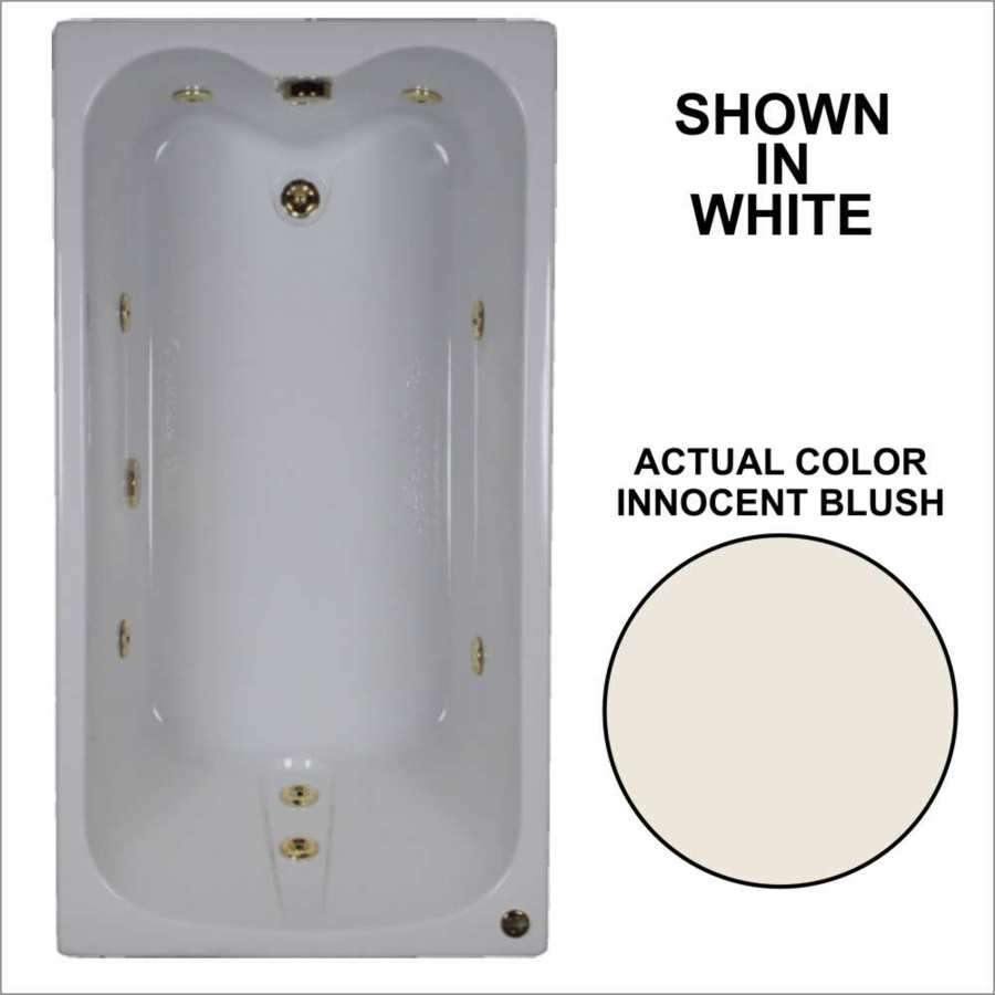 Watertech Whirlpool Baths Innocent Blush Acrylic Rectangular Whirlpool Tub (Common: 32-in x 60-in; Actual: 22.5-in x 31.75-in x 59.75-in)