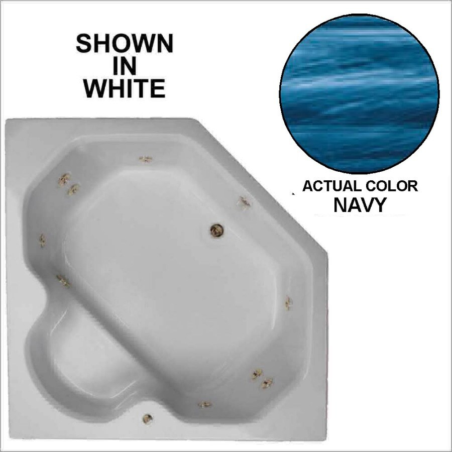 Watertech Whirlpool Baths 2-Person Navy Acrylic Corner Whirlpool Tub (Common: 60-in x 60-in; Actual: 20-in x 60-in x 60-in)