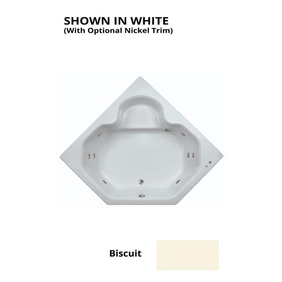 Watertech Whirlpool Baths 2-Person Biscuit Acrylic Corner Whirlpool Tub (Common: 60-in x 60-in; Actual: 20-in x 60-in x 60-in)