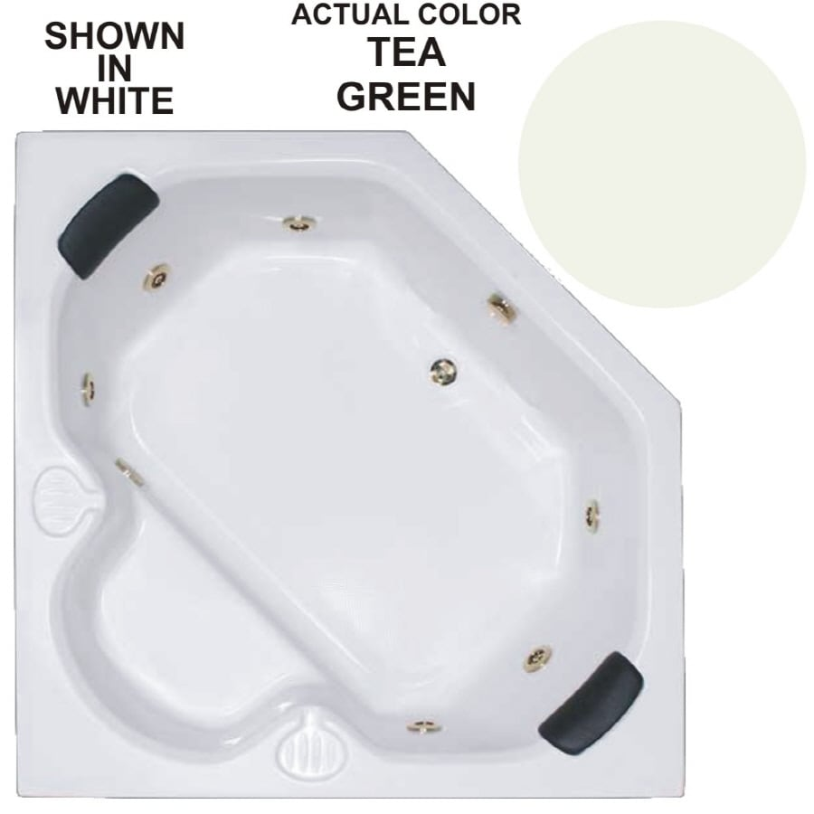Watertech Whirlpool Baths Warertech 2-Person Tea Green Acrylic Corner Whirlpool Tub (Common: 60-in x 60-in; Actual: 20-in x 60-in x 60-in)