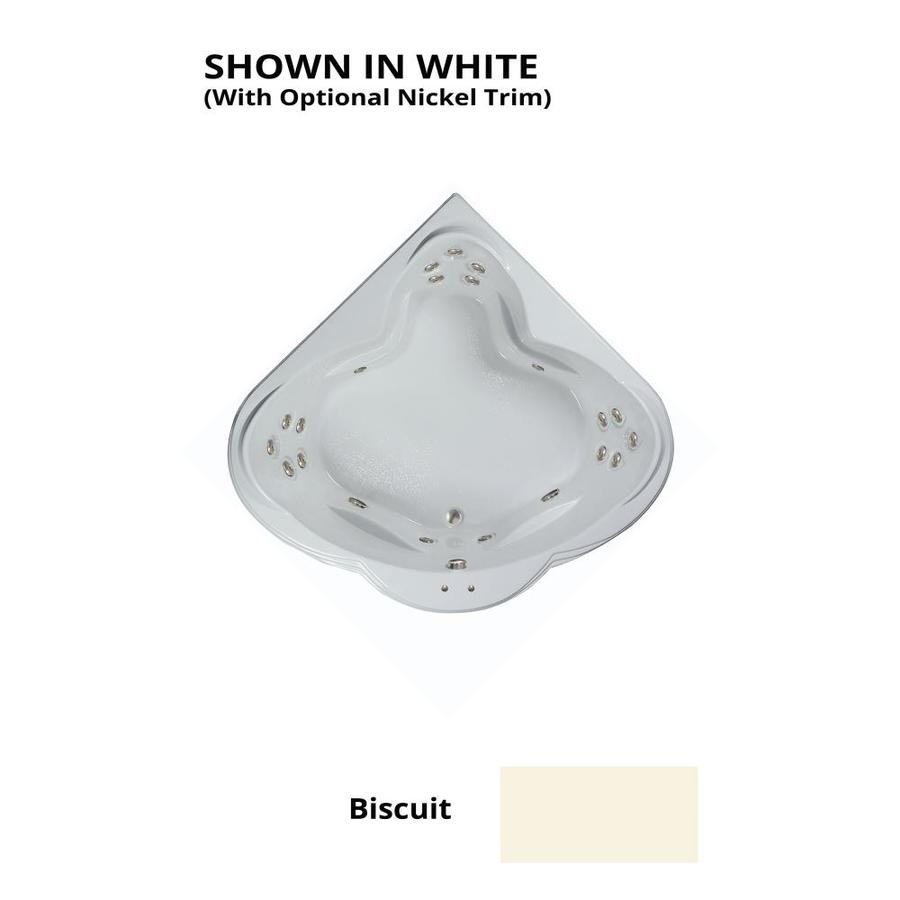 Watertech Whirlpool Baths Warertech 3-Person Biscuit Acrylic Corner Whirlpool Tub (Common: 62-in x 62-in; Actual: 23-in x 62-in x 62-in)