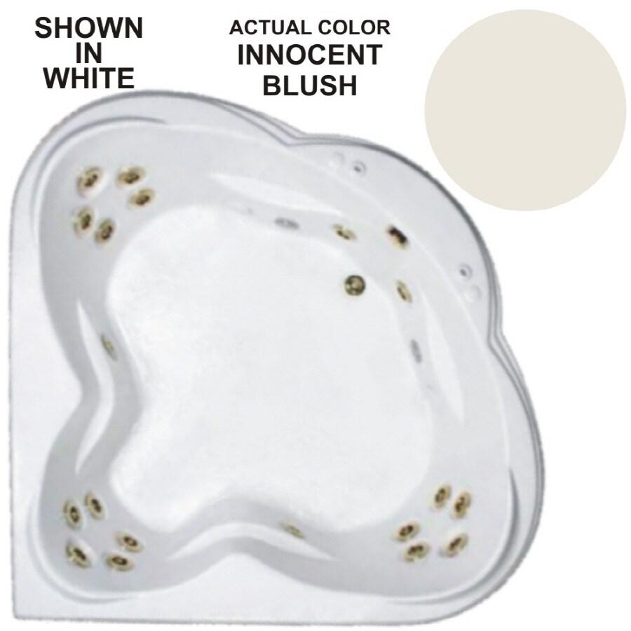 Watertech Whirlpool Baths Warertech 3-Person Innocent Blush Acrylic Corner Whirlpool Tub (Common: 62-in x 62-in; Actual: 23-in x 62-in x 62-in)