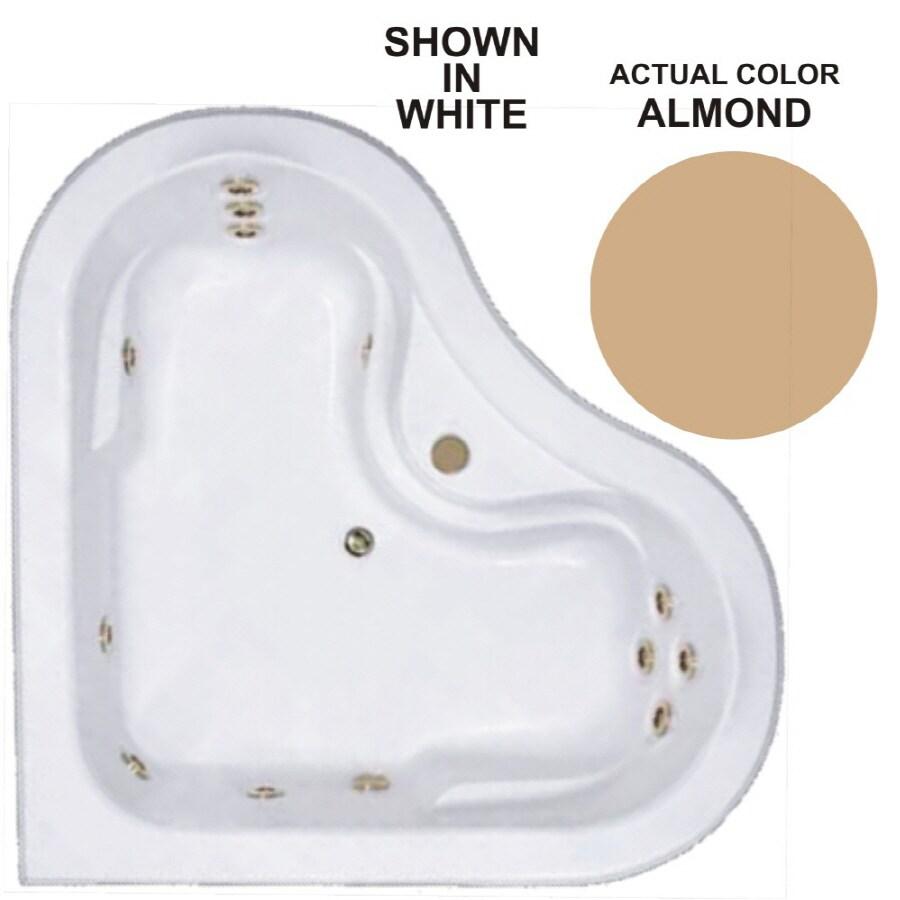 Watertech Whirlpool Baths Warertech 2-Person Almond Acrylic Corner Whirlpool Tub (Common: 64-in x 64-in; Actual: 20.5-in x 64-in x 64-in)