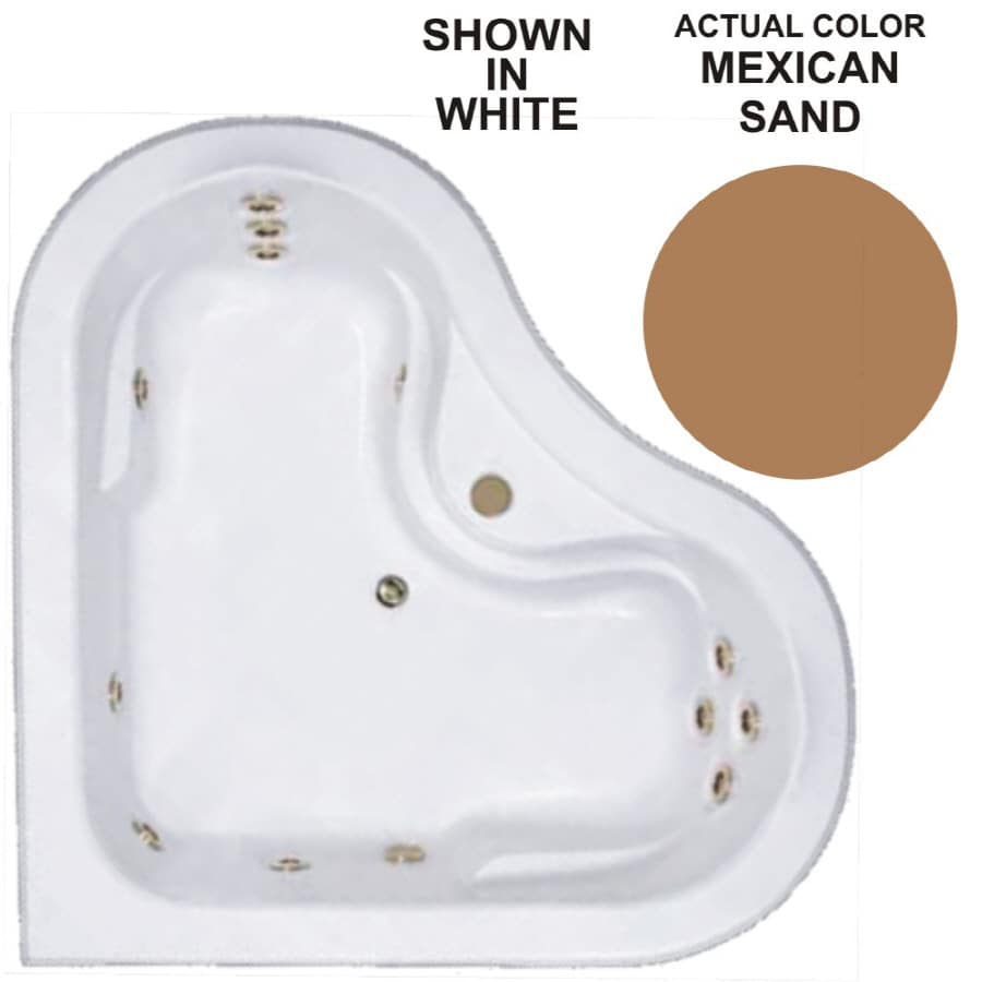 Watertech Whirlpool Baths Warertech 2-Person Mexican Sand Acrylic Corner Whirlpool Tub (Common: 64-in x 64-in; Actual: 20.5-in x 64-in x 64-in)