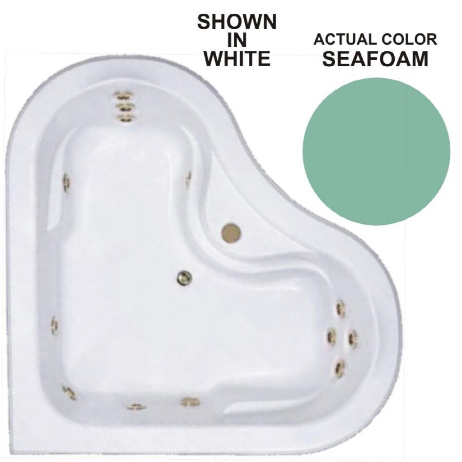 Watertech Whirlpool Baths Warertech 2-Person Seafoam Acrylic Corner Whirlpool Tub (Common: 64-in x 64-in; Actual: 20.5-in x 64-in x 64-in)