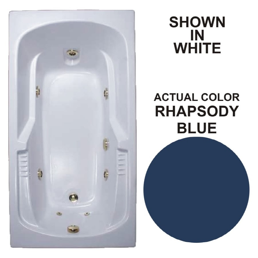 Watertech Whirlpool Baths Warertech Rhapsody Blue Acrylic Rectangular Whirlpool Tub (Common: 36-in x 72-in; Actual: 20-in x 36-in x 72-in)