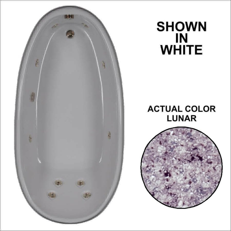 Watertech Whirlpool Baths Designer Lunar Acrylic Oval Whirlpool Tub (Common: 36-in x 72-in; Actual: 22-in x 36-in x 72-in)