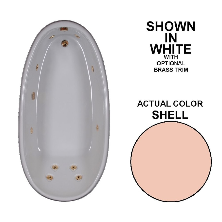 Watertech Whirlpool Baths Designer Shell Acrylic Oval Whirlpool Tub (Common: 36-in x 72-in; Actual: 22-in x 36-in x 72-in)