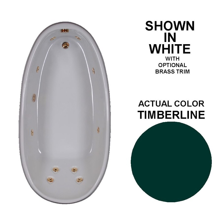 Watertech Whirlpool Baths Designer Timberline Acrylic Oval Whirlpool Tub (Common: 36-in x 72-in; Actual: 22-in x 36-in x 72-in)