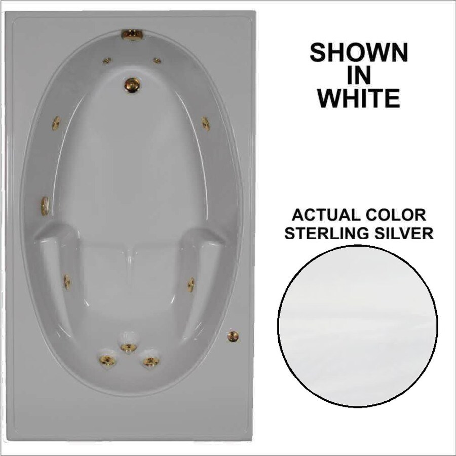 Watertech Whirlpool Baths Sterling Silver Acrylic Oval In Rectangle Whirlpool Tub (Common: 42-in x 72-in; Actual: 19-in x 41.5-in x 59.75-in)