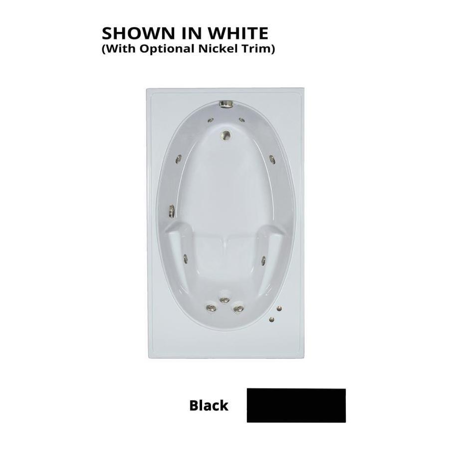 Watertech Whirlpool Baths Black Acrylic Rectangular Whirlpool Tub (Common: 42-in x 72-in; Actual: 19-in x 41.5-in x 59.75-in)